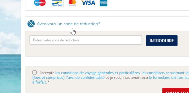 Entrez votre code de réduction à la dernière étape avant le paiement